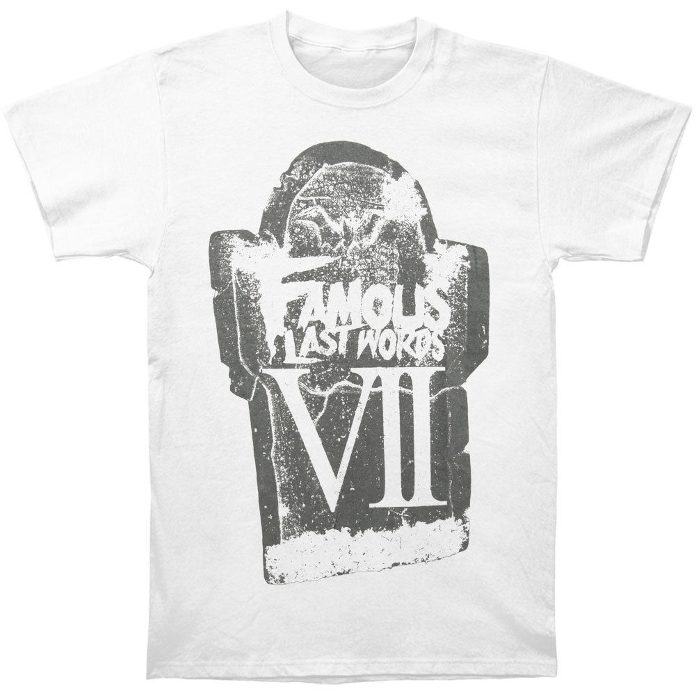 Brand Cotton Men Clothing Male Slim Fit T Shirt Famous Last Words Men's Tombstone T-shirt White Rockabilia image
