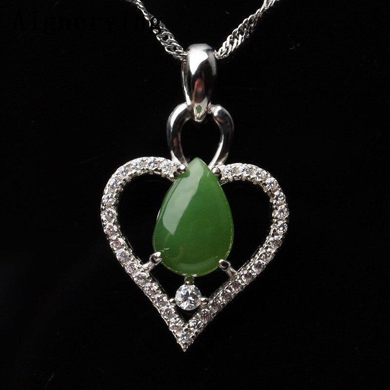 Naturel vert Jade coeur creux pendentif fil Chocker collier bijoux chaîne Vintage incrusté chaîne cadeau boîte certificat