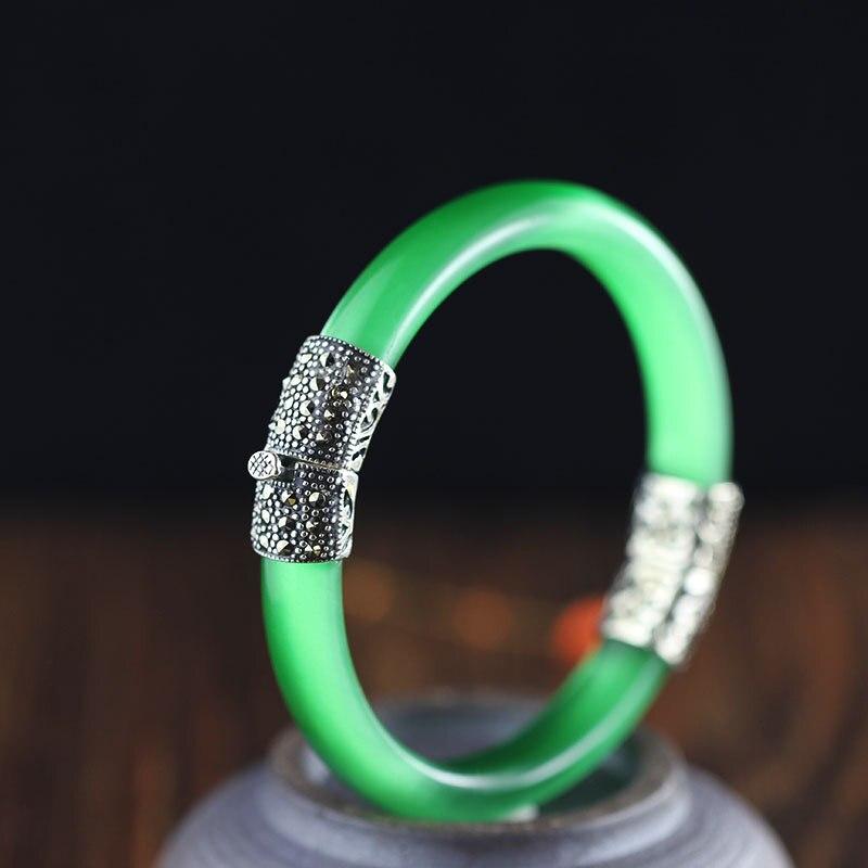 Offre spéciale Style National Bracelet en cristal rose argent véritable S925 Thai Bracelet en argent classique beaux Bracelets en argent