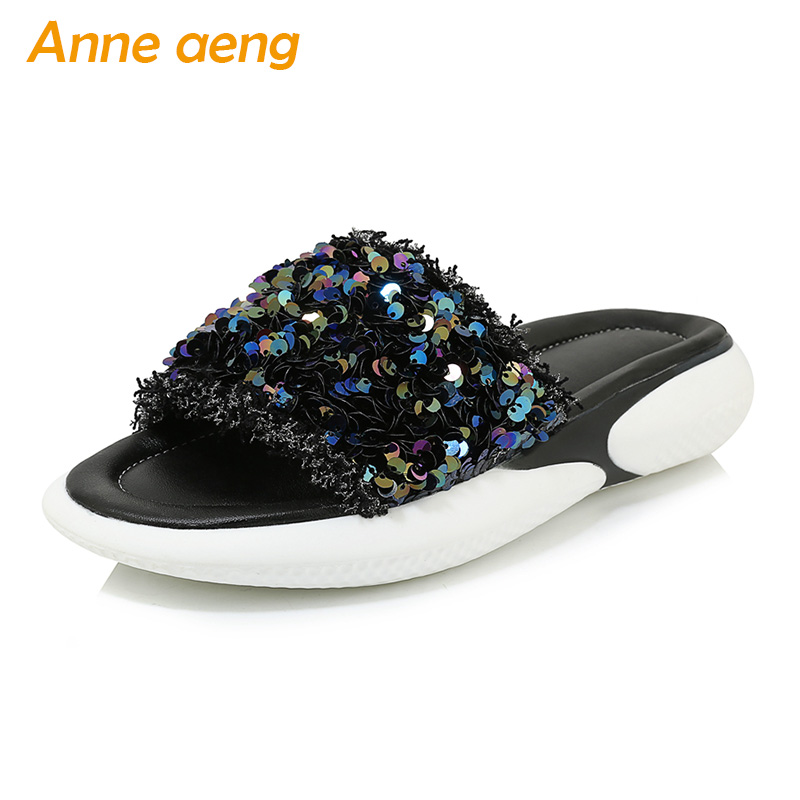 New Summer Women Slippers Middle Flats Heel Bling Comfortable Casual Women Platform Shoes Black Slides Outdoor Slippers Big SizeNew Summer Women Slippers Middle Flats Heel Bling Comfortable Casual Women Platform Shoes Black Slides Outdoor Slippers Big Size