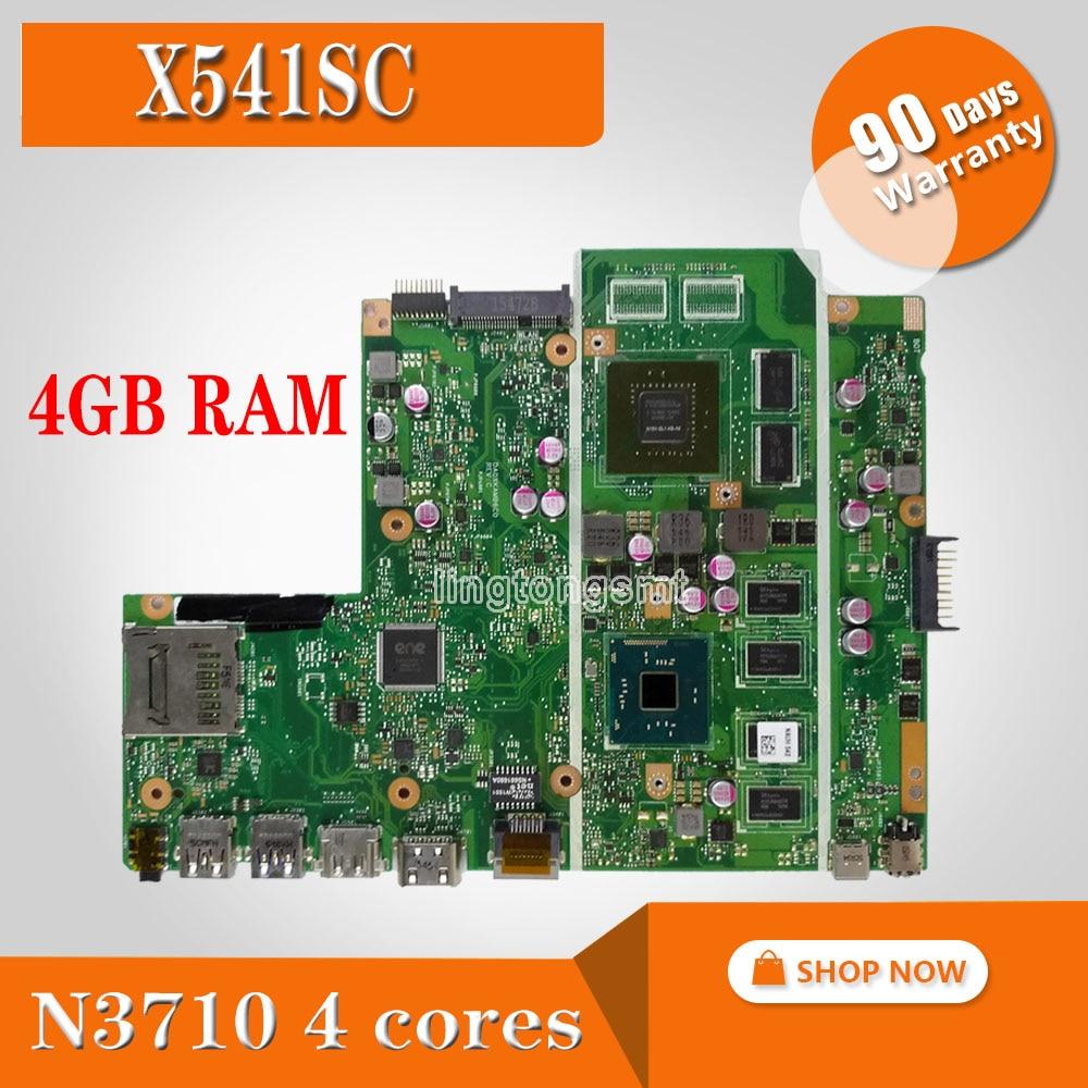 X541SC motherboard N3710 CPU 4GB RAM REV 2.0 For ASUS X541S X541SC laptop motherboard X541SC mainboard X541SC motherboard