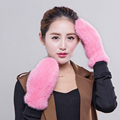 Luvas 2016 novo inverno Coreano de importação de pele de vison vison malha luvas mitten adorável quentes mulher
