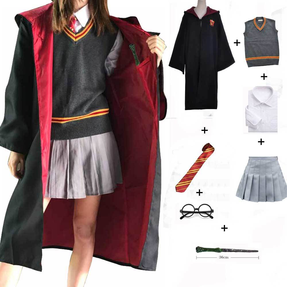 Hufflepuff Slytherin Ravenclaw Costume Hermione Granger Cosplay Robe Skirt Gryffindor Glasses Uniform Halloween Costume