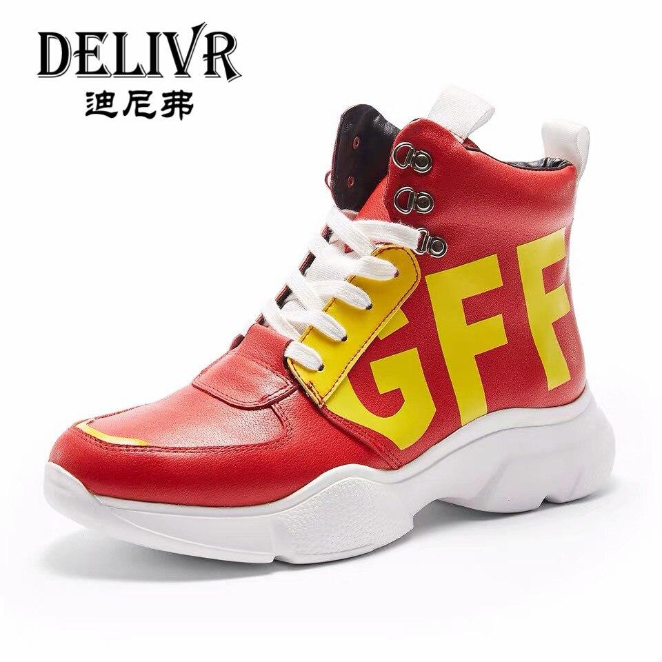 Delivr hommes chaussures décontracté luxe 2019 nouveauté rouge lettre hommes chaussures en cuir véritable bottines Sneakers hommes chaussures haut