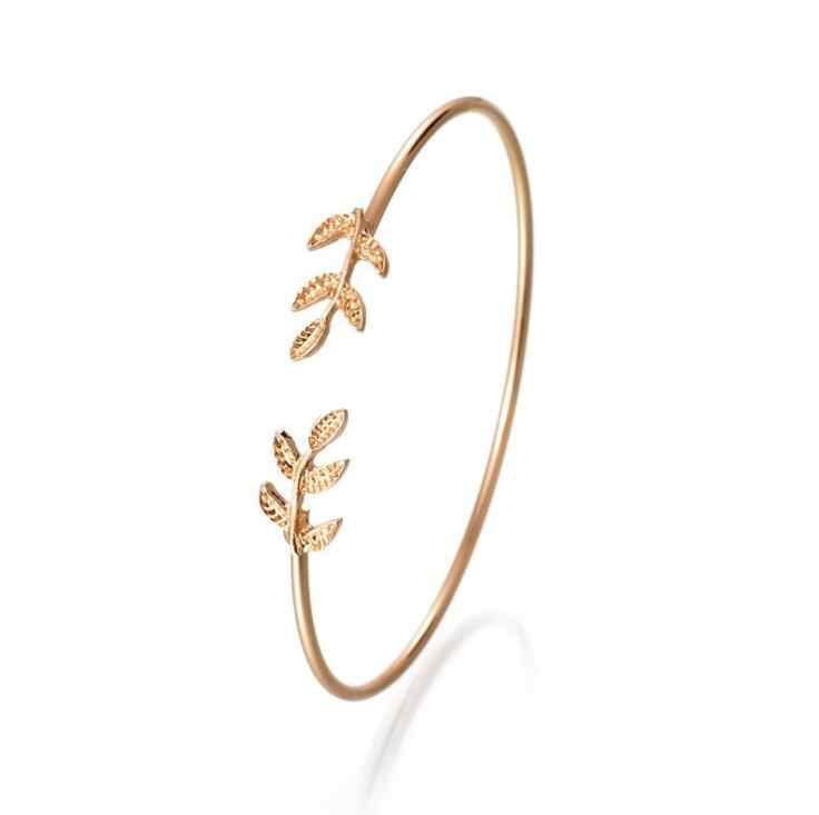 2018 Summer Popular Accessories Metal Cuff Bracelets Vintage Sweet Leaf Open Adjustable Fashion Bracelet Pulseiras Birthday Gift