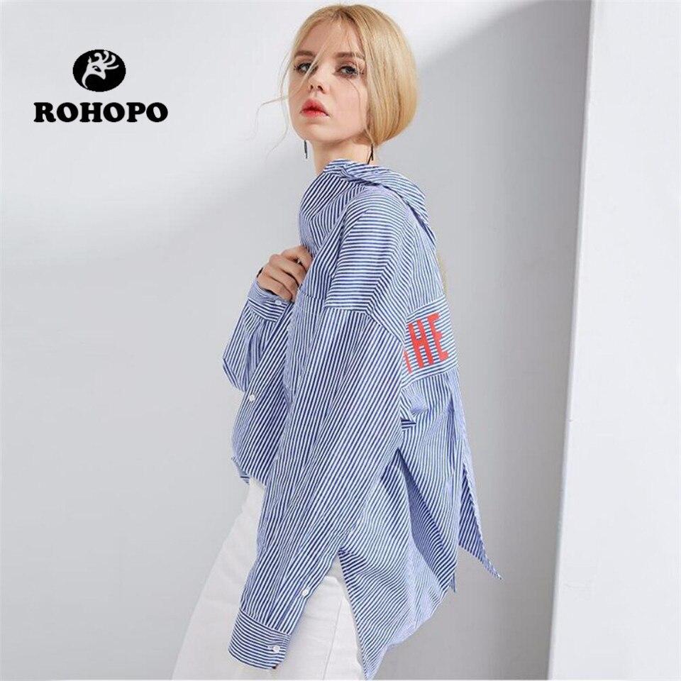 ROHOPO female long sleeve blouse Preppy Girl Vertical Striped Casual Blouses Spring Women Back Letter Korea