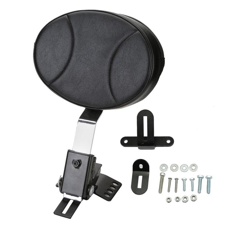 Black Motorcycle Adjustable Plug In Driver Rider Seat Backrest Pad Kit For 1997 2016 Harley Touring