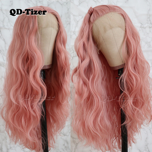 Image 2 - QD Tizer Long Pink Hair Loose Wave Hair  Lace Wigs Free Part Glueless Synthetic Lace Front Wigs for Fashion Women