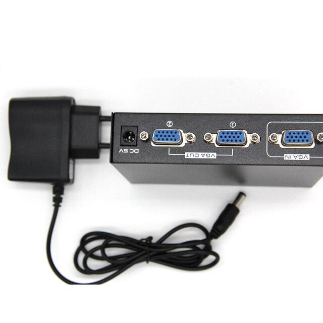 2 พอร์ต VGA 250 MHz สัญญาณ Hd สัญญาณแอมพลิฟายเออร์ Booster Splitter Share กล่อง 1920*1440 สำหรับ PC Monitor Projector US Plug