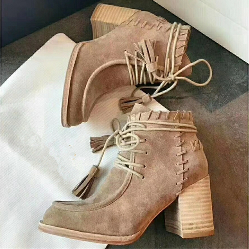 цена на Fashion Tassle Real Leather Woman Ankle Boots Women Round Toe HIgh Heels Martin Boots Women Luxury Velvet Boots Zapatos Mujer