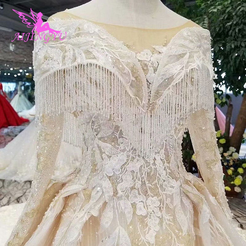 AIJINGYU Weddig Dress Luxury Fat Size Medieval White Plus Size Muslim Outlet Marriage Gown Bridal Collection