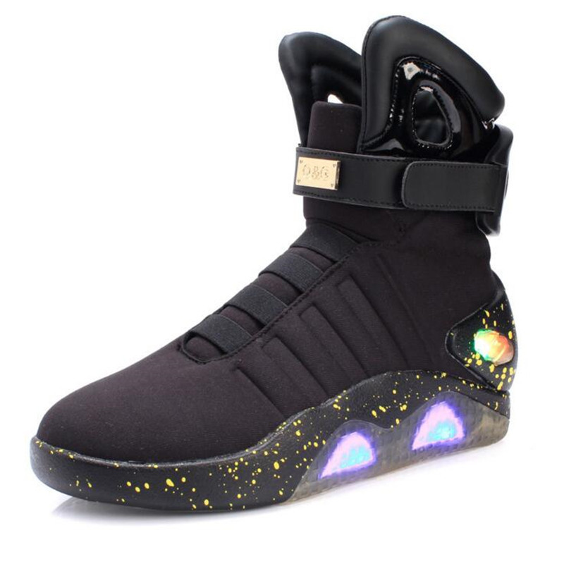 2017 New Men Fashion Luminous Shoes High Top LED Lights USB Charging Colorful Shoes Future Warrior Men Casual Flash Shoes