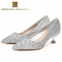 2018 Crystal Wedding Shoes Woman 5.5CM High Heels Sexy Women Glitter Silver Diamond Shoes Pointed Toe Fashion Party Shoes K 139
