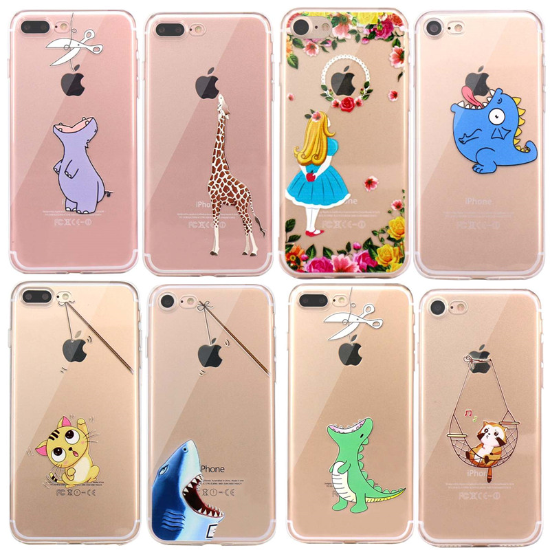 For Capinha <font><b>iphone</b></font> <font><b>7</b></font> <font><b>Case</b></font> Cute Animals <font><b>Dinosaur</b></font> Soft Silicon <font><b>Case</b></font> Cover for <font><b>iPhone</b></font> On <font><b>7</b></font> 6 6S 8 Plus 5S 5 Se X Transparent Fundas image