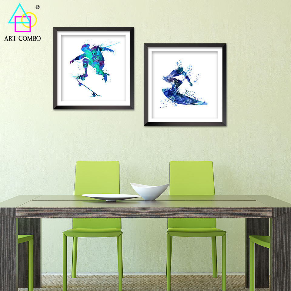 Modern art canvas paintings cheap creative surfing - Cheap wall decals for living room ...