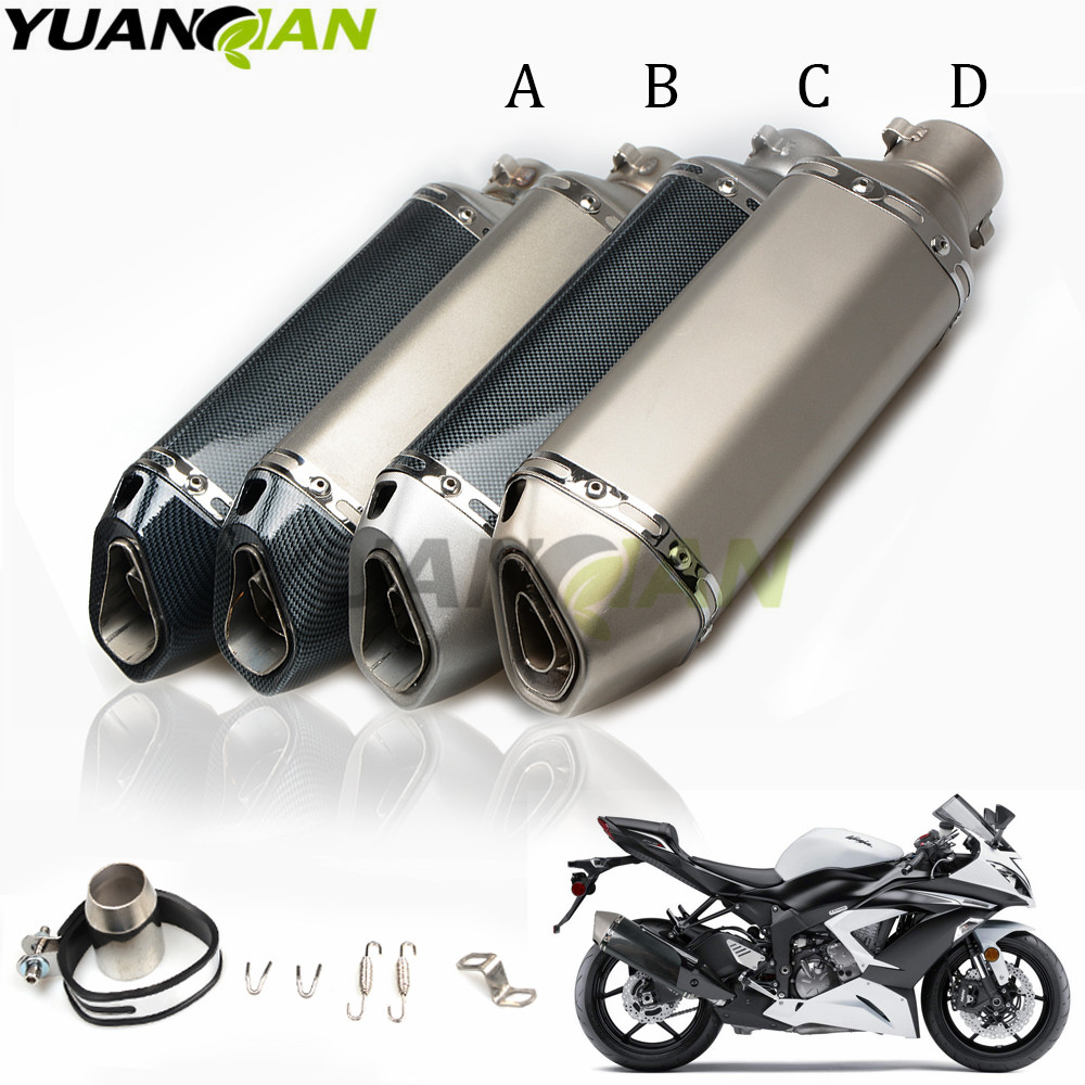 36-51mm New Motorcycle carbon fiber exhaust Exhaust Muffler pipe For Honda CBR 600 954 1000 RR Kawasaki Z800 ZX-6R ZX-10R KLE650 r qiankong 36 51mm carbon fiber modified exhaust pipe muffler for kawasaki z250 z650 z750 z800 z900 z1000 sx ex250 300 zx 6r 10r