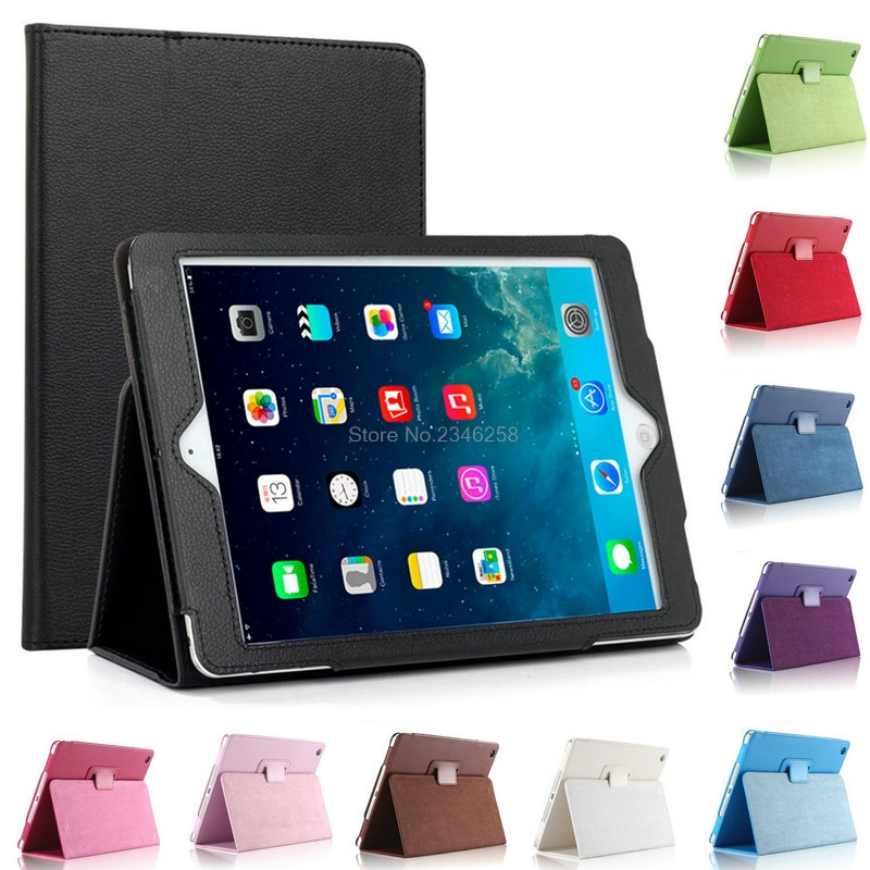 Stand Feature Folio Flip Case For iPad Air PU Leather Auto Sleep Wake Full Body Protective Cover For iPadAir House Shell ultra thin for ipad air 2 case pu leather smart stand cover universal auto sleep wake up flip 9 7inch case for ipad air 1 2
