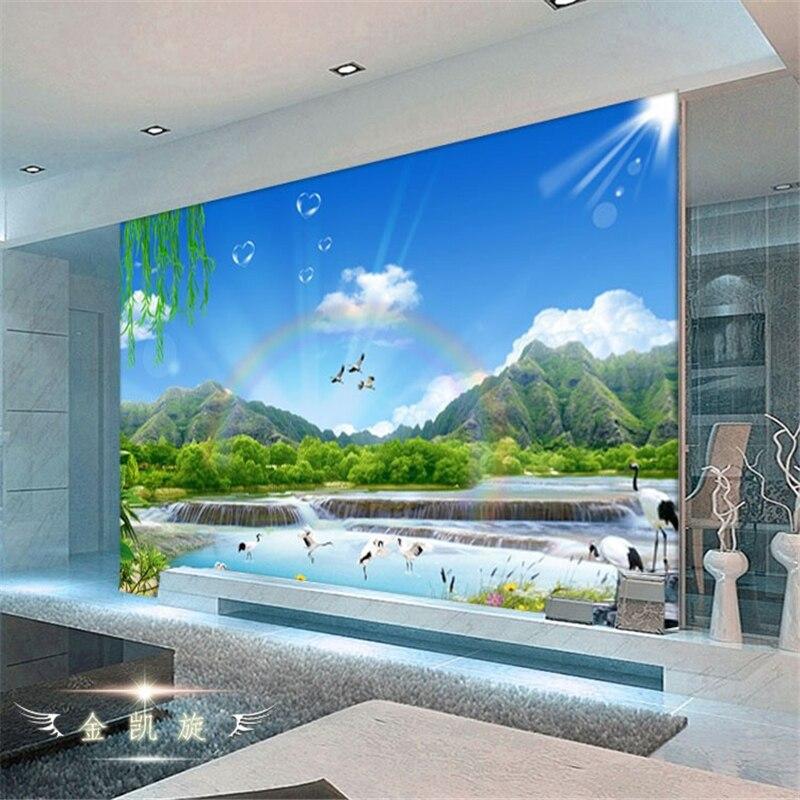 € 8.11 40% de réduction|Beibehang bleu ciel paysage arc en ciel cascade  vidéo murale papier peint rouleau canapé TV fond papier peint ...