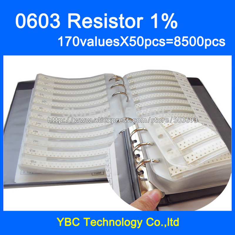 Free Shipping 0603 SMD Resistor Sample Book 1% Tolerance 170valuesx50pcs=8500pcs Resistor Kit 0R~10M