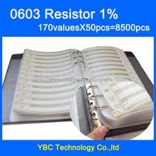 Trasporto libero 0603 SMD Resistor Libro Campione di 1% Tolleranza 170valuesx50pcs = 8500 pz Resistor Kit 0R ~ 10 M