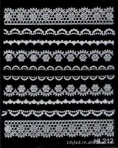 2 Sheet  white lace nail stickers  nail jewelry wholesale  White HL212