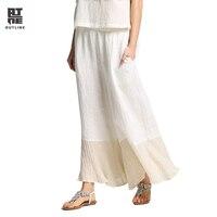 Outline Women Linen Wide Leg Pants Vintage Plus Size Elastic Waist Patchwork Pleated White Loose Casual