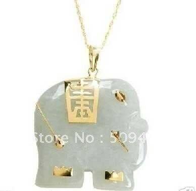 Free Shipping>>>Asian NATURAL White Jade Elephant Pendant Necklace