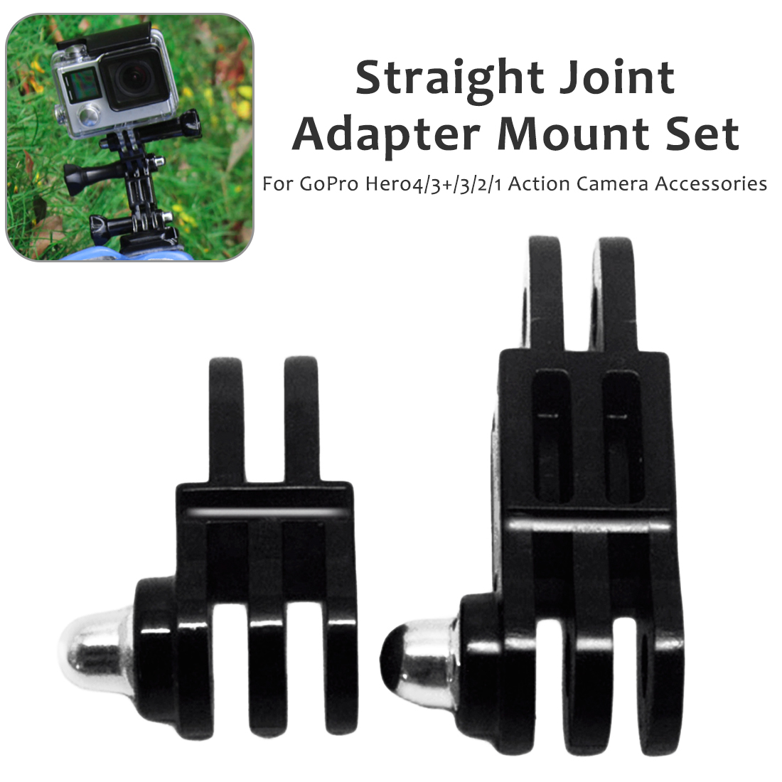 2pcs Universal Black Plastic Adjustable 3- Way Pivot Arm Assembly Extension Adapter For GoPro Hero 4 3+ 3 2 1 Action Camera