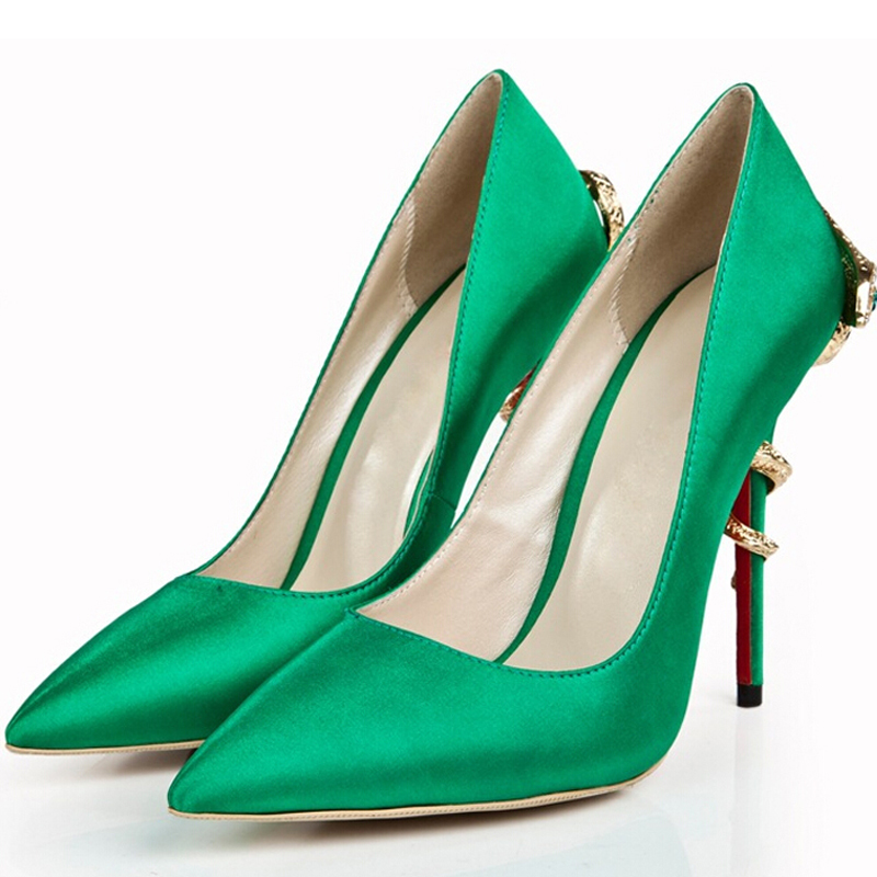 Satin 12cm High Heel Prom Wedding Party Shoes Green Pointed Toe Women Pumps Evening Dress Shoes Fashion Cobra Heels