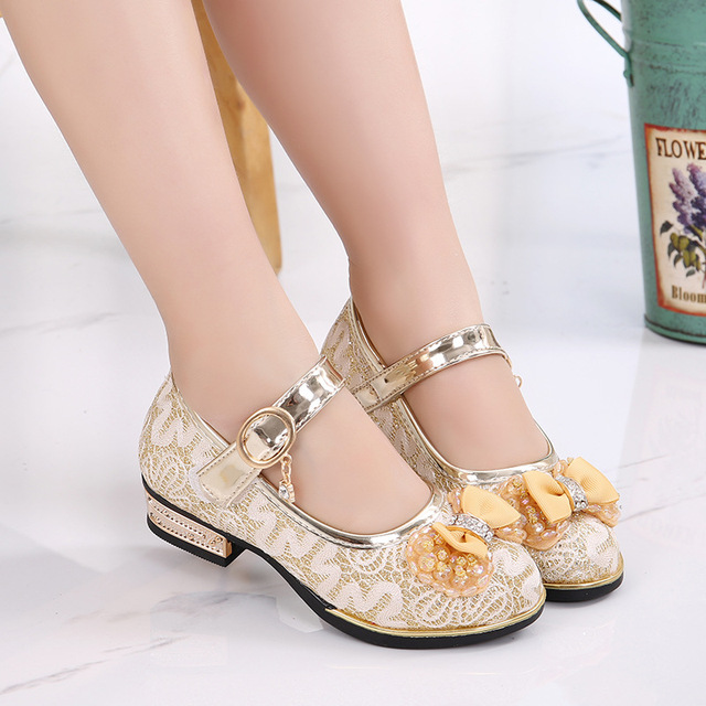 Aliexpress.com   Buy Crystal Bow Girls Shoes Princess Leather Children s  High Heel Shoes Chaussures Rose Filles Wedding Girls Dress Shoes TX260 from  ... a1ed572f07d1
