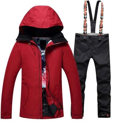 GSOU SNOW 2017 nouvelles filles combinaison de Ski femme costumes hiver Long couleur Pure chaud coupe-vent imperméable veste de Ski + pantalon de Ski taille XS-L