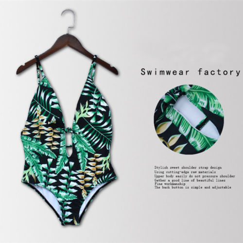 Black Friday Deals New 2018 Summer Sexy Women Padded Leaves print Bikini One Piece Monokini Swimwear Bathing Swimsuit Beachwear