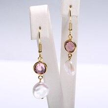 hot deal buy 10-11mm keshi pearl earrings amethyst dangle earrings french hook 925 silver earrings trendy jewelry for women