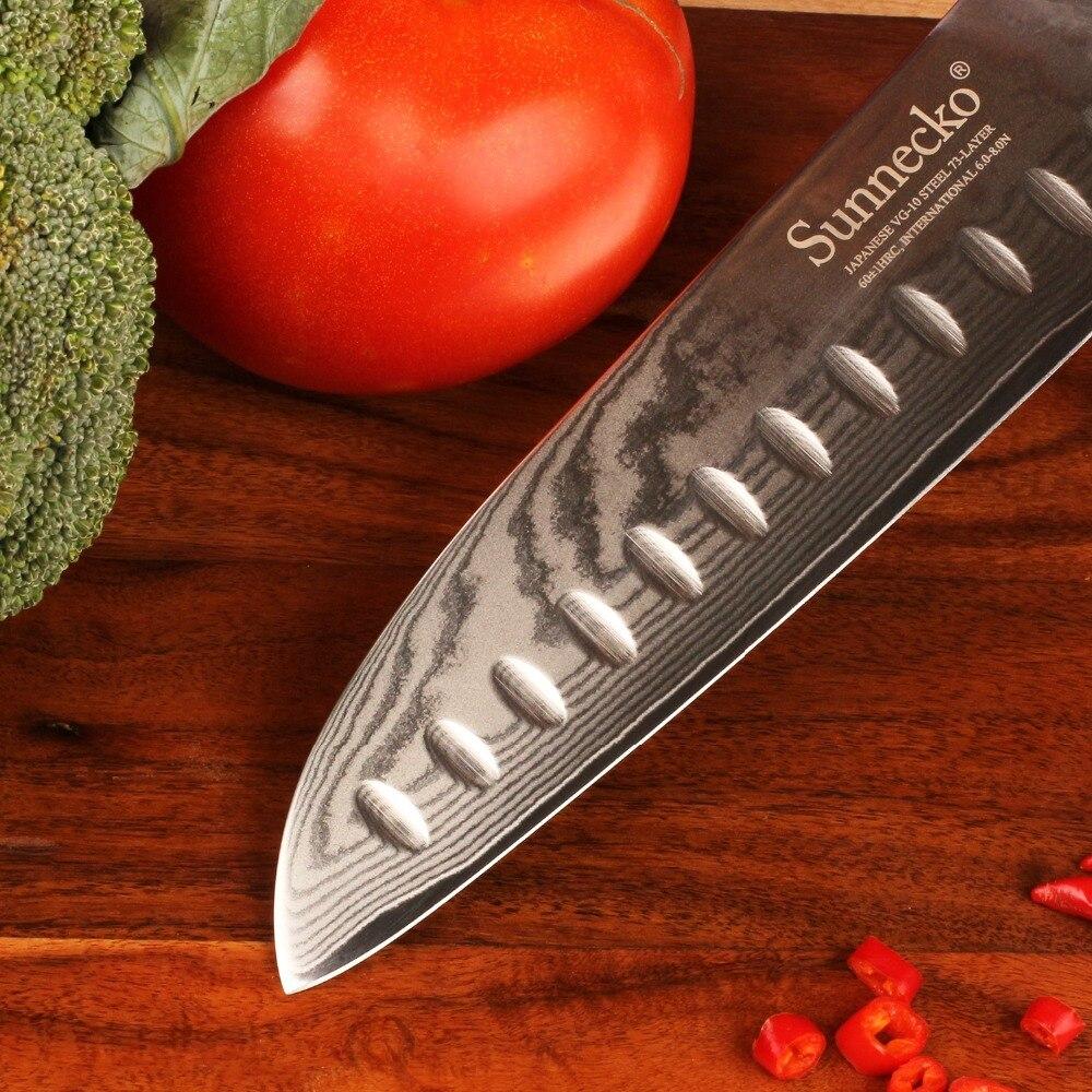 "Sunnecko 7 ""นิ้วมีด Santoku มีดครัวญี่ปุ่นดามัสกัสเหล็ก VG10 ใบมีด Sharp เนื้อผลไม้ตัดเครื่องมือ G10 + s/S Handle-ใน มีดครัว จาก บ้านและสวน บน   3"