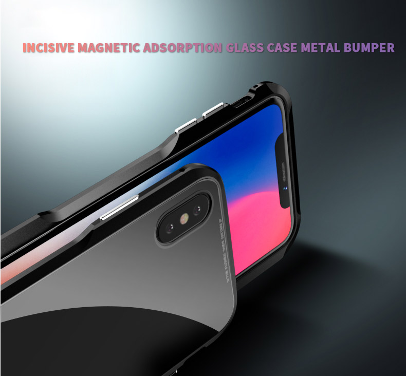 For iPhone X Magnetic Adsorption Cases Shockproof Metal Bumper (21)