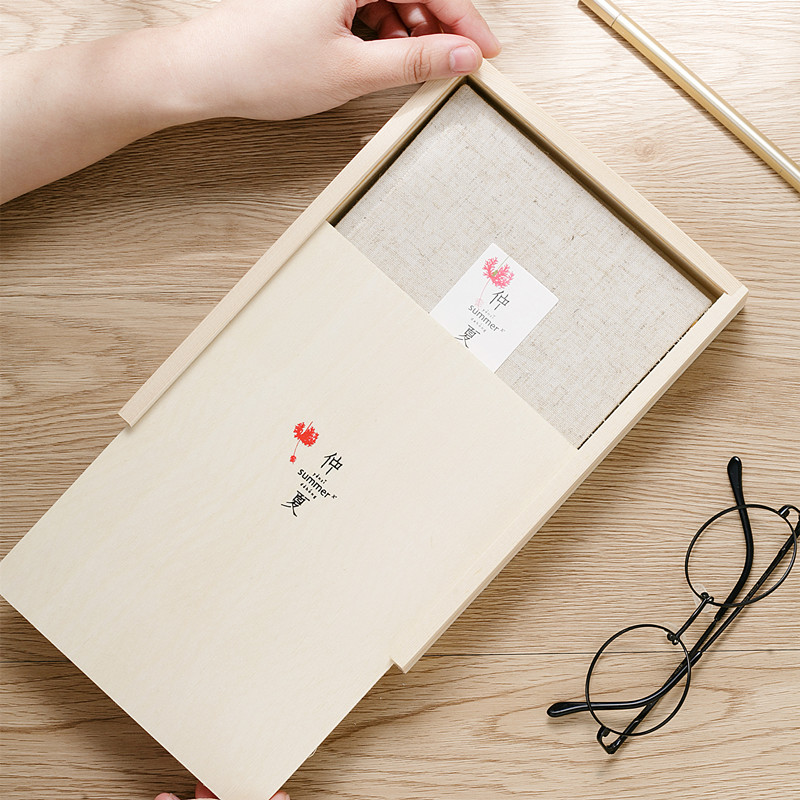 Color page diary fabric cover notebook with beautiful wooden box stationery book souvenir birthday small hand-painted gift box