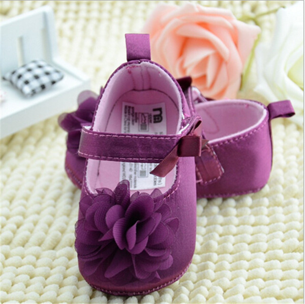 2015 Cute Big Flower Baby Princess Shoes Soft Bottom Infants Toddler First Walker Girl Baby Shoes 3 size
