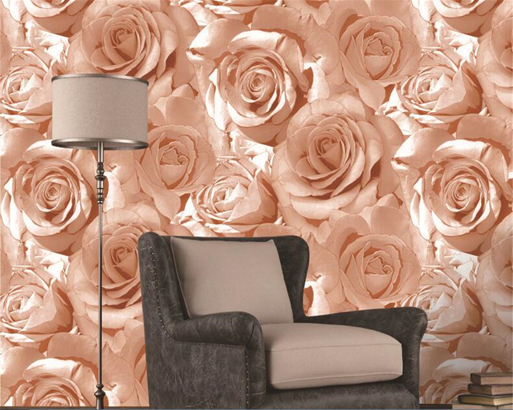 beibehang papel de parede Padded waterproof red rose background wall wallpaper living room bedroom beauty salon clothing store beibehang american wooden imitation clothing store 3d stereo wooden wallpaper mediterranean living room bedroom papel de parede