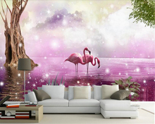 beibehang Custom personalized three-dimensional papel de parede wallpaper beautiful fashion flamingos trees creative background