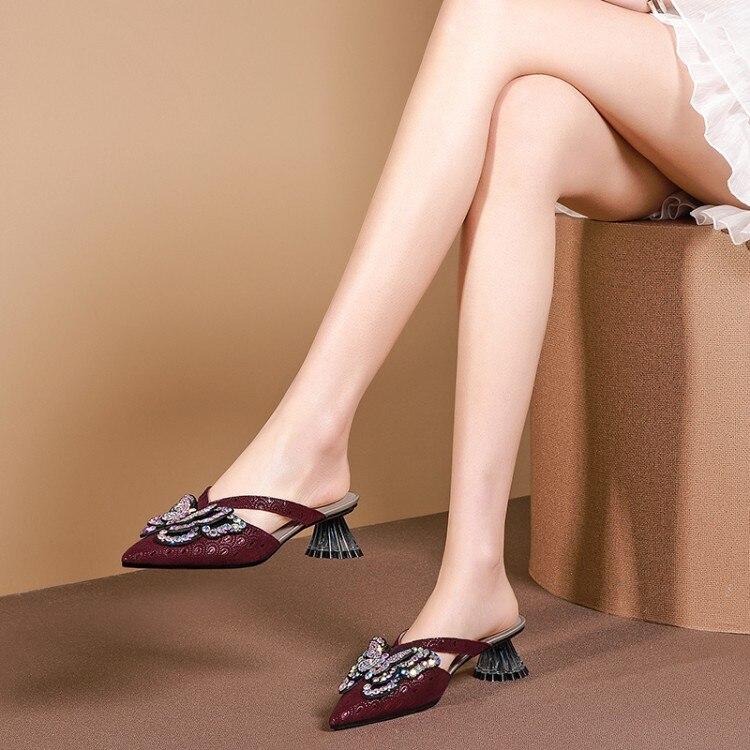 MLJUESE 2019 zapatillas de mujer de piel de oveja estilo Roma con lazo de Punta puntiaguda vino rojo color extraño talón sandalias de playa fiesta tamaño tamaño 42-in Zapatillas from zapatos    1