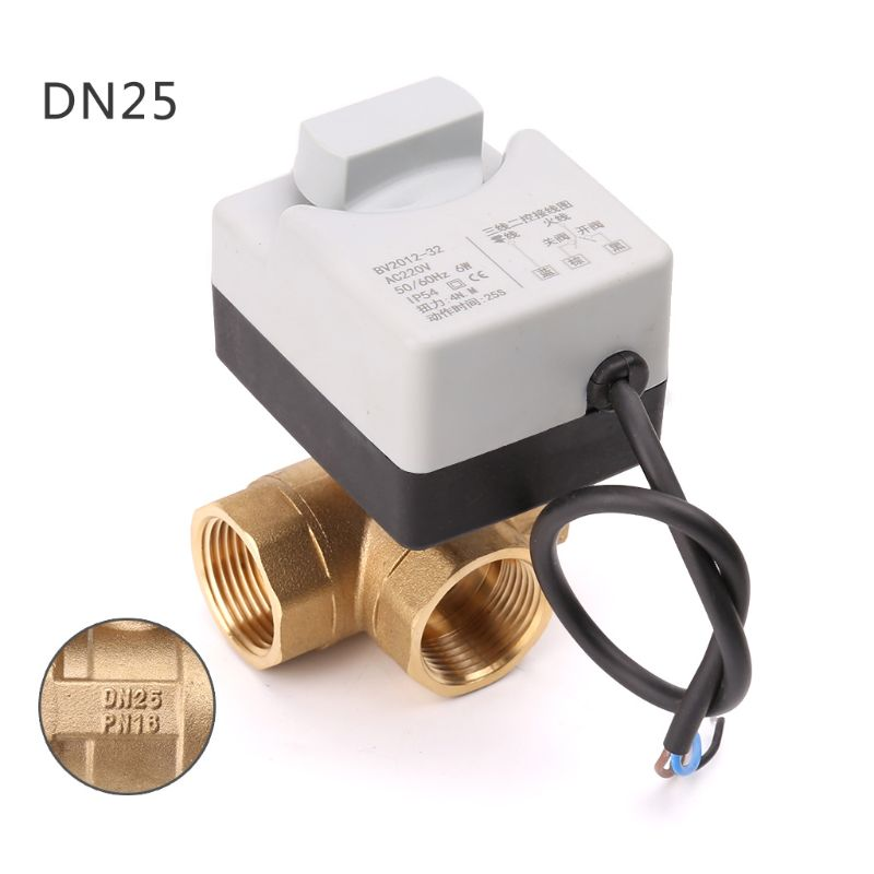AC220V 3-way Electric Motorized Ball Valve Three-wire Two Control For Air Conditioning