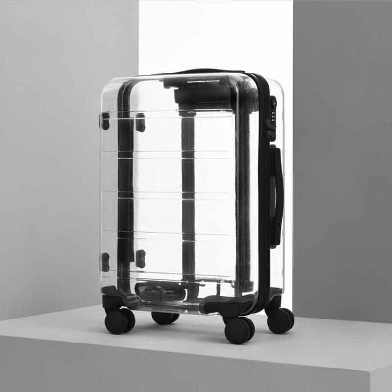 Trolley-Bag Wheels Cabin-Luggage Transparent Suitcase Travel Tale Spinner New-Brand on
