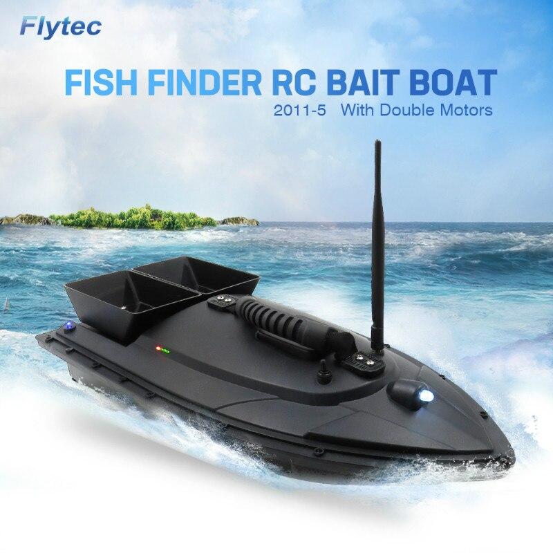 Flytec 2011-5 500 M appât bateau de pêche avec deux poissons Finder 1.5 kg réservoirs de chargement RC bateau télécommande dispositif de contrôle Radio poissons jouets