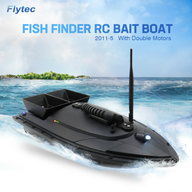 Flytec 2011-5 500M Bait Fishing Boat with Two Fish Finder 1.5kg Loading Tanks RC Boat Remote Radio Control Device Fish Toys image