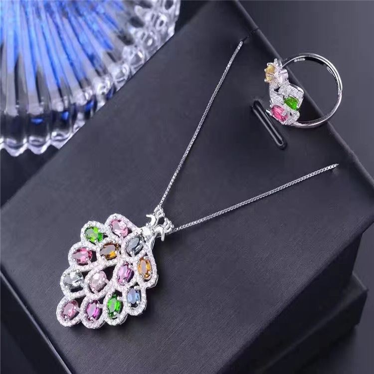 Natural tourmaline necklace pendant + ring set S925 sterling silver inlaid tourmaline jewelry explosion gem jewelry faux gem coin leaf jewelry set