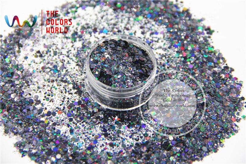 HA2104-224 микс Блестки для ногтей Черный цвет Шестигранная форма Блестки для дизайна ногтей DIY украшения Хэллоуин