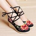 Женская весна осень цветок хлопка - национальный тенденция старинные вышитые обувь вышивка высокие каблуки клинья
