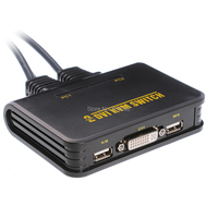 Professional USB DVI Switch 2 Port USB DVI KVM Switch Switcher Audio Video With Cable For Keyboard Mouse Dual Monitor