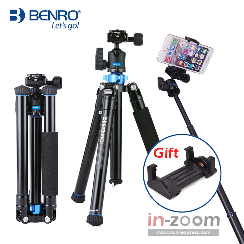 Benro IS05 Aluminum Alloy Tripod Kit Center Column Can Be Selfie Stick Monopod For Smartphones Mirrorless Cameras Oversea Stock