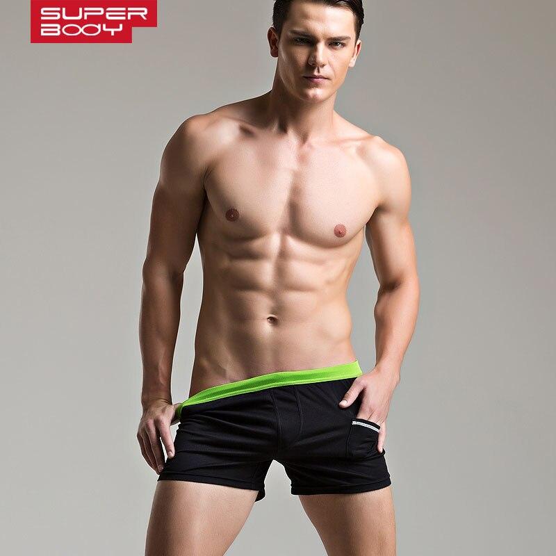 3pcs/lot 2015New SUPERBODY Mens shorts Low-rise solid home shorts Pajama fashion shorts 6 Colors Size M L XL